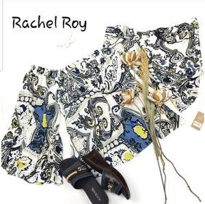 Rachel Roy- BlueWhite Yellow Boho off shoulder XXL